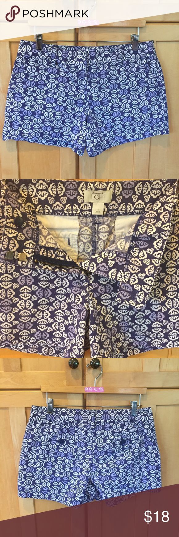 Anne Taylor LOFT with pretty blue design SHORTS Anne Taylor LOFT size 8 SHORTS. Pretty blue print design with zip front and double clasp closure, belt loops, front pockets and back with button on each pocket. 97% cotton and 3% spandex fabric for a great feel and fit. Great condition-great pair of shorts! LOFT Shorts