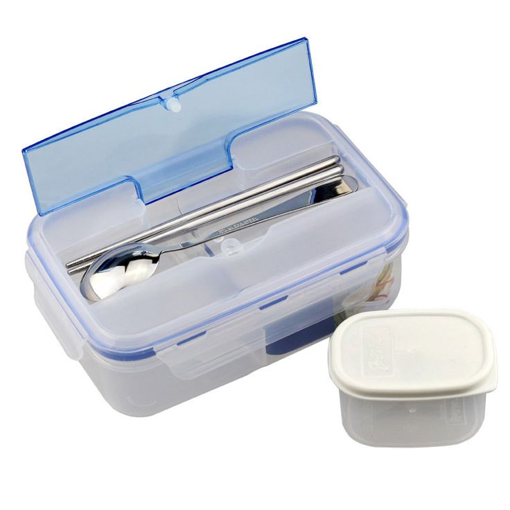 Hot Sale 1000ml Durable Lunch Box Eco-Friendly Portable Microwave Bento Box with Soup Bowl Chopsticks Spoon Food Containers