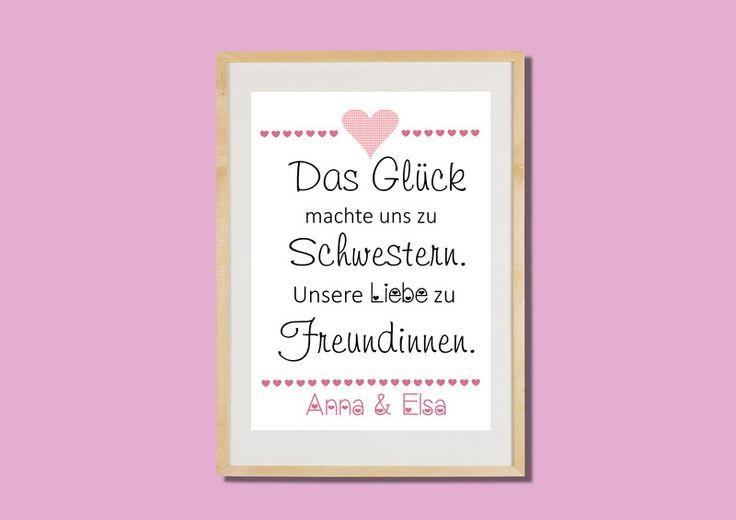 Das+Glück+macht+uns+zu+Schwestern+A4+Druck+von+Aus+Liebe+wird+Papier+auf+DaWanda.com