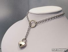 BDSM Discreet Slave Collar Necklace, Stainless Steel Lariat Style Locking Day Collar with O Ring and Padlock by TheCagedFlower on Etsy