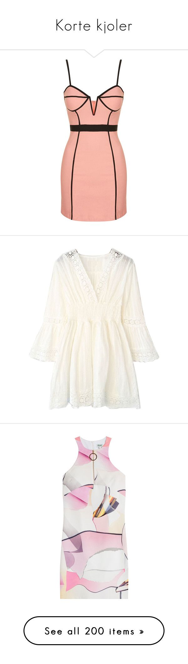 """Korte kjoler"" by kari-c ❤ liked on Polyvore featuring dresses, vestidos, short dresses, robes, blush, bodycon dress, red bustier dress, red dress, mini dress and white"