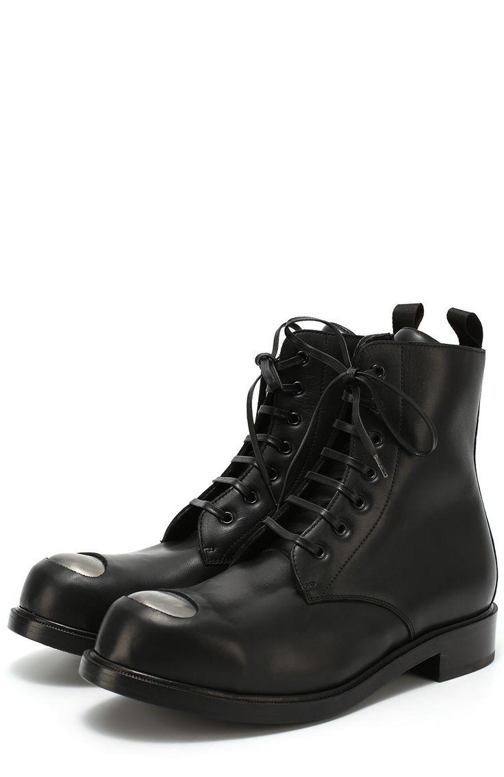 Alexander McQueen Кожаные ботинки с декоративной вставкой Черный 85 500 Р.