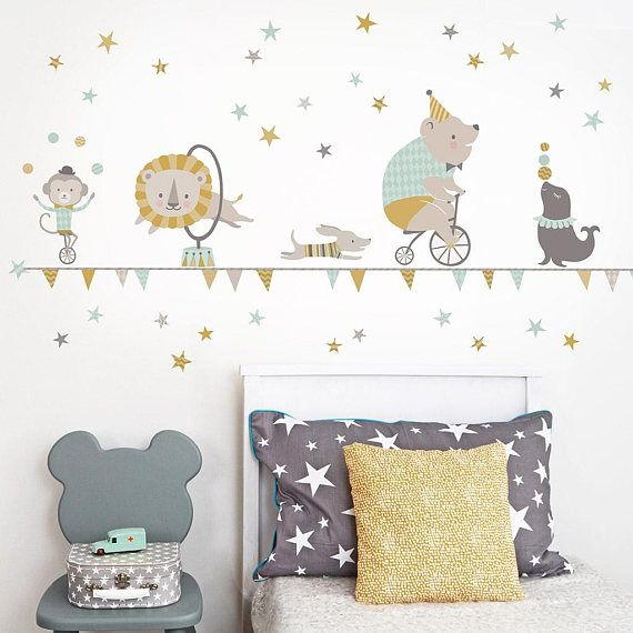 Circus Wall Sticker In Mustard Mint For Baby Nursery And