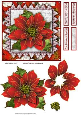 """Christmas Poinsettia Quick Card Front on Craftsuprint designed by Robyn Cockburn - Just a couple of simple decoupage layers, add the card front to a 6"""" square card blank and you have a great last minute (but still hand made!) Christmas card. - Now available for download!"""