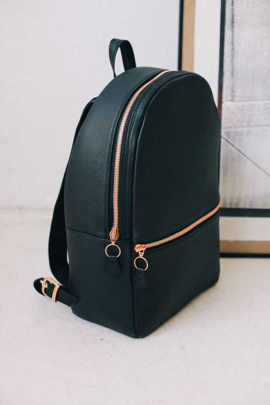 nice gold detailing on this leather backpack #style