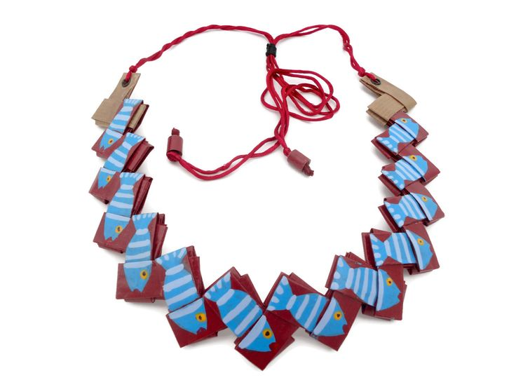 Sea jewelry-summer art necklace with fishes-fish necklace-beach necklace red and blue with fishes-ocean jewelry necklace made out of paper