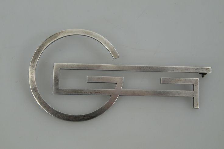 WIWEN NILSSON. Brosch, silver, monogram, 1938, 13,1 gram.