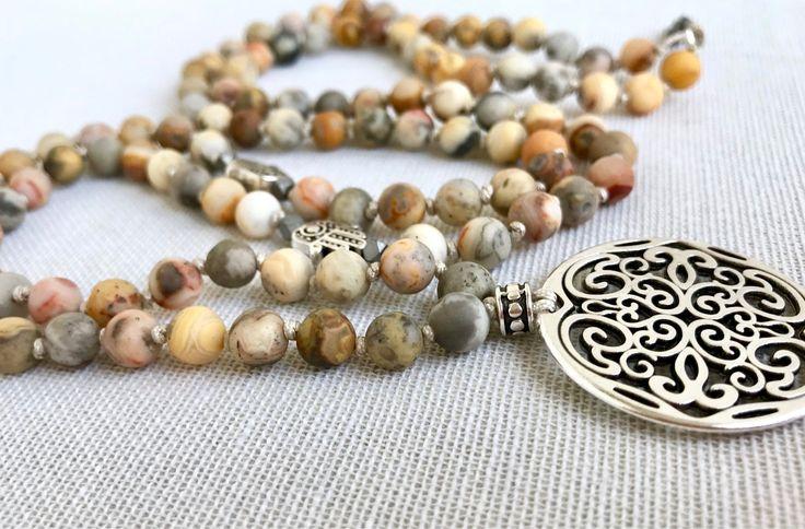 Crazy lace agate mala necklace agate gemstones mala necklace mandala pendant mala necklace yoga mala meditation necklace 108 prayer mala by Katiaicrafts on Etsy
