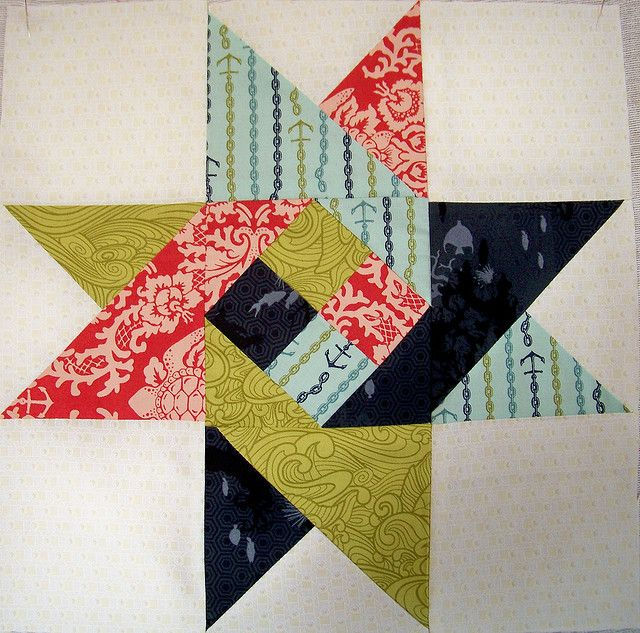 Fancy star - looks easy enough squares on the inside, triangles to make second square and triangles and squares to finish out the block.  I might like this one.  Crazy quilting with a pattern :)
