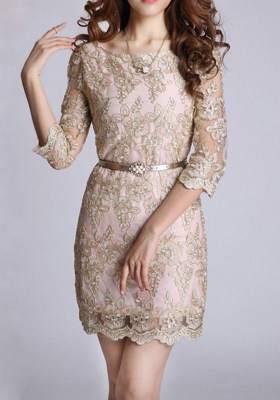 Golden Floral Belt Half Sleeve Wrap Lace Vintage Dress