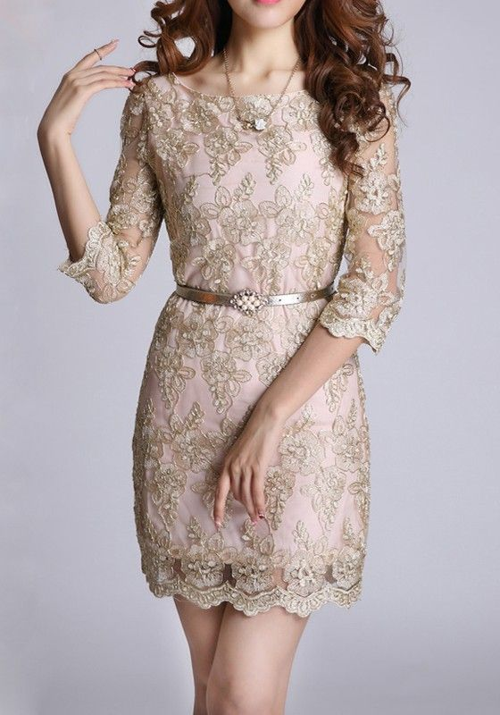 So pretty and delicate.  Golden Floral Belt Half Sleeve Wrap Lace Vintage Dress