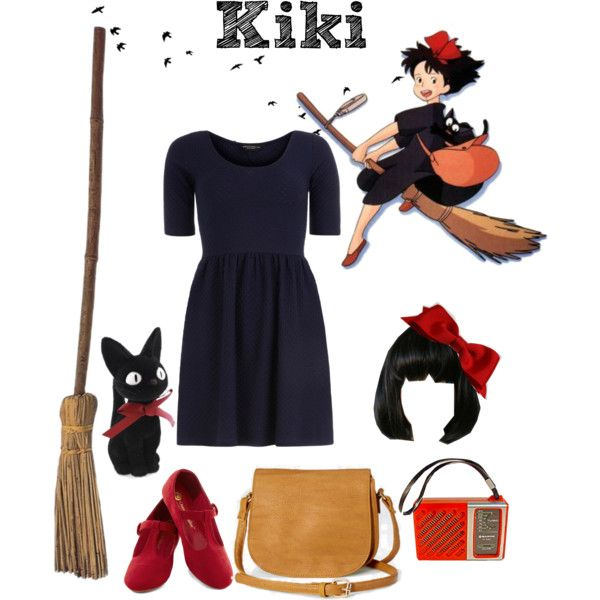 Kiki's Delivery Service by pleasediecarefully on Polyvore featuring Dorothy Perkins, Ghibli, kiki, Jiji and kikisdeliveryservice