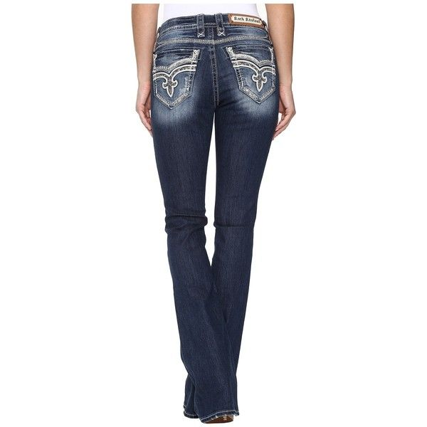 Rock Revival Keeley BM207 (Medium Blue) Women's Jeans ($169) ❤ liked on Polyvore featuring jeans, dark wash bootcut jeans, rock revival jeans, fake jeans, boot cut jeans and faux-leather jeans