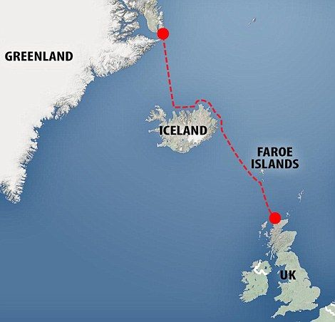 Mapping it out: The route the kayakers took from Greenland to Scotland...