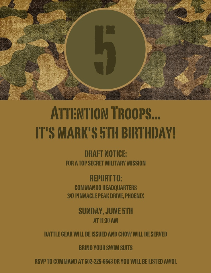 free printable camouflage birthday party invitations%0A Army Theme Birthday Invitation  Camouflage  Set of    printed on  cardstock