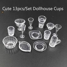 13 teile/satz Puppenhaus Cups Mini Kunststoff Puppenhaus 1:12 Miniaturen Wein Whisky Bier Tassen zubehör knetmasse tassen(China (Mainland))