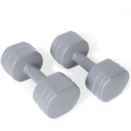 Tone Fitness Vinyl Coated Cement Dumbbells, 15 lb Pair. Two 7.5 LB Dumbbells. Smooth, easy grip handles. Good for a low impact cardio workout. Great for a variety of exercises. Vinyl and cement construction.