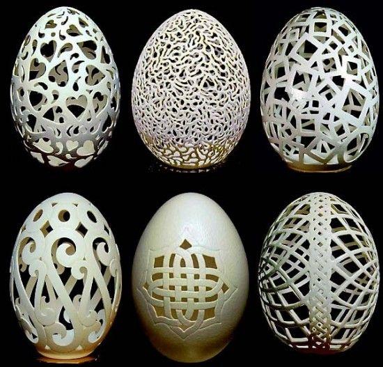 Carved eggshells