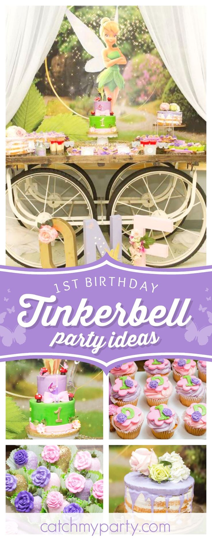 Don't miss this stunning Tinkerbell 1st birthday party! The dessert table is incredible!! See more party ideas and share yours at CatchMyParty.com #tinkerbell #1stbirthday
