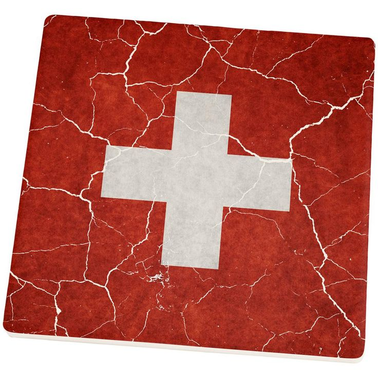 Distressed Swiss Flag Set of 4 Square Sandstone Coasters
