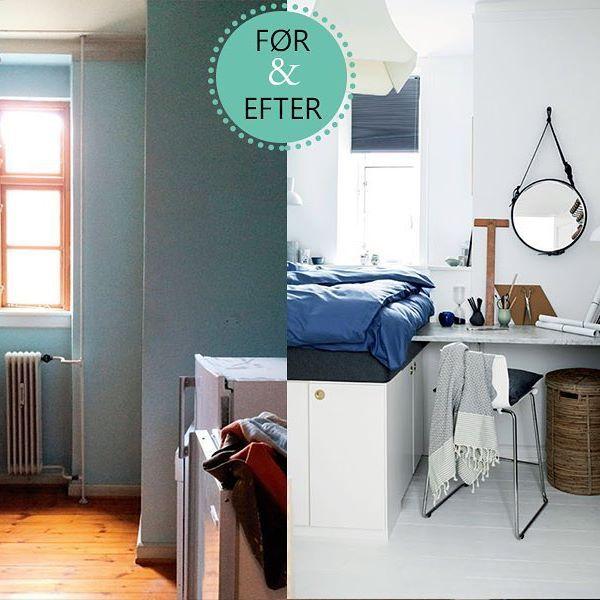 Se forvandlingen til et hyggeligt gæsteværelse med skrivebord og masser af opbevaringsplads på www.boligliv.dk. Foto: @tiaborgsmidt #boligliv #indretning #førogefter