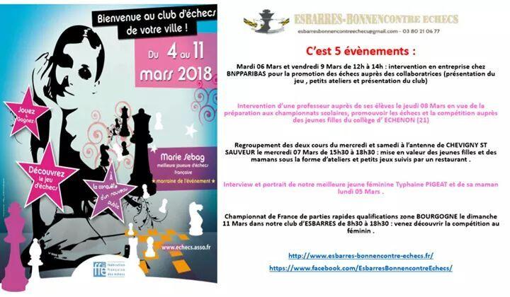 Esbarresbonnencontre Esbarre Echecs 19 Hil Y A 19 Heures Plus Notre Club Participe A La Semaine Au Feminin Lancee Par La Jeu Echec Club Professeur