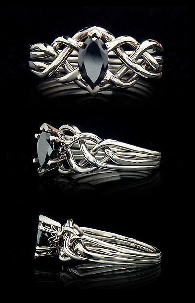 Celtic puzzle ring with black marquise diamond