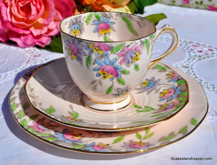 Tuscan Art Deco Hand Painted Pink China Teacup Trio