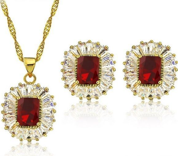 Necklace Jewelry Set Women Crystal Fashion Wedding Pendant Hot GP Earrings Party #Unbranded