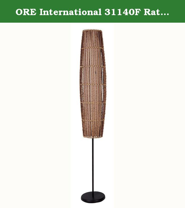 ORE International 31140F Rattan Floor Lamp. Add some Pacific flavor to your décor with this stylish fixture. This floor lamp features natural woven fabric in a parchment finish. Rattan shade with linen lining is 39 inches high. On/off step switch. Lamp uses one 60 watt bulb.