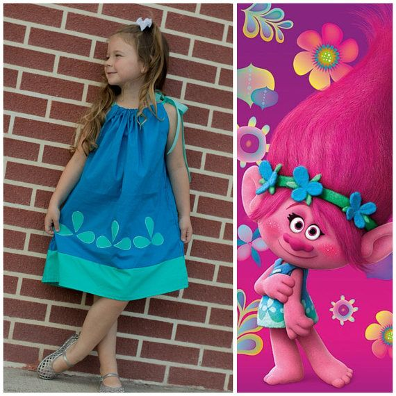 Girls dress, Trolls birthday party, pillowcase dress,poppy trolls dress, princess Poppy