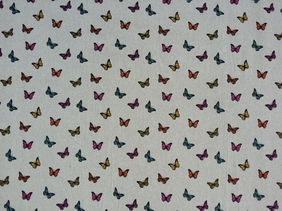 Multicoloured butterfly/butterflies print cotton cute summer fabric vintage brown linen upholstery curtains quilting fabrics Per Metre