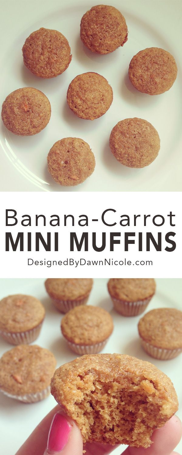 Banana Carrot Mini Muffins {Yummy healthier dessert and also great for Kid's Breakfasts and Lunchboxes!}