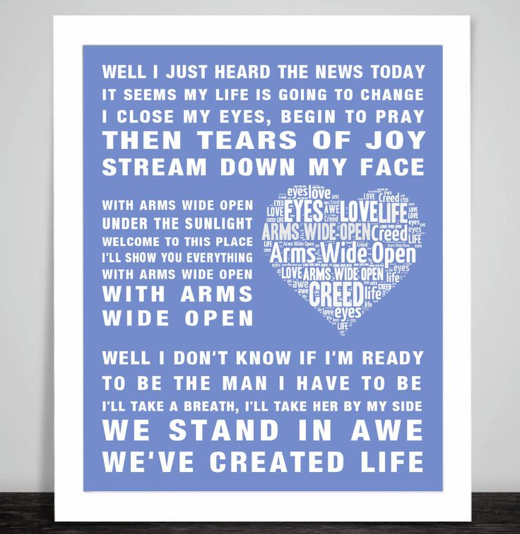 The 25 best creed lyrics ideas on pinterest brownie quest rock creed arms wide open music song lyric word art print love new baby birth heart stopboris Choice Image