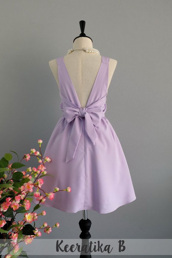 A Party V Backless Dress Pale Lilac Dress by LovelyMelodyClothing