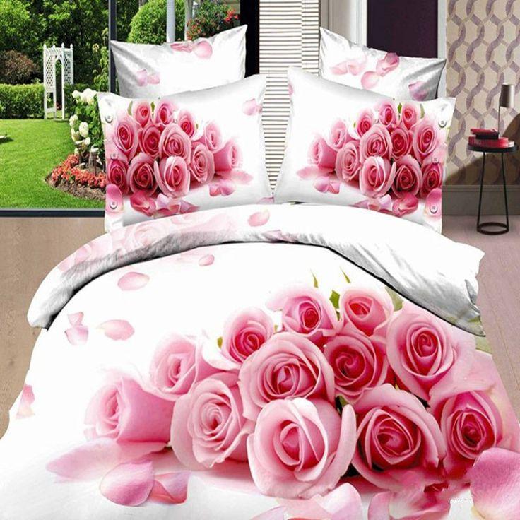 Aliexpress.com: Koop Roze Rose 3D beddengoed sets queen size 4 stks bruiloft beddengoed Trooster/quilt/dekbedovertrek prinses beddengoed bed vel katoen van betrouwbare papier voor t-shirts leveranciers op Household goods stores