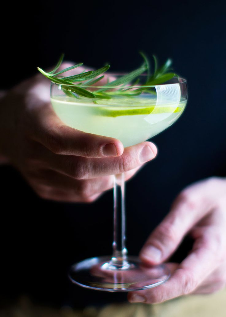 Rosemary beautifully complements the Gin + Lime flavors of this Gimlet cocktail recipe.