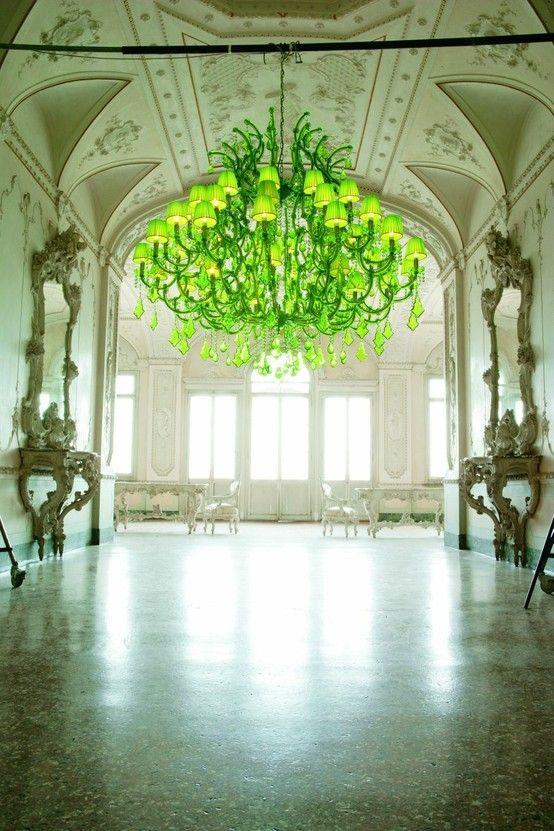 :)Lights Fixtures, Colors, Neon Interiors, Neon Green, Glasses Chandeliers, Interiors Design, Ballrooms, Crystals Chandeliers, Limes