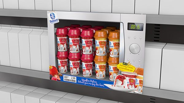 This Yogurt Shelf Display is Made to Resemble a Microwave #business trendhunter.com