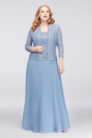 Classic modest look with a stylish flare, this mock two piece dress is ideal for any affair!  Long sleeveless dress featuressequin lacebodice and airy chiffon skirtwith a matching 3/