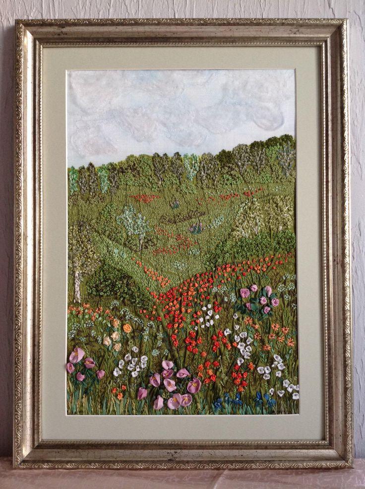 Летний пейзаж, вышитая картина, картина из шёлка by Siberianshop on Etsy