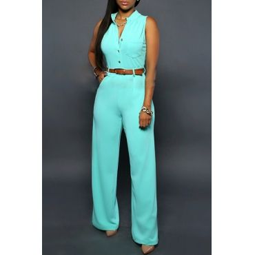 fb4f1665365 USD11.99Stylish O Neck Sleeveless Button Design Cyan Qmilch One-piece  Jumpsuits (Without Belt)