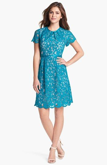 Adrianna Papell Scalloped Lace Dress available at #Nordstrom in Blue not this weird teal.