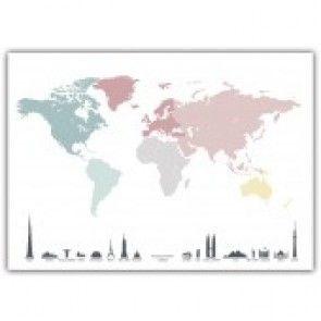 Plakat - World Map Pastell