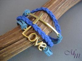 Armband Setje Blauw Love/Kruis | Armbanden met Tussenzetsels | Mix en Match Sieraden en Onderdelen