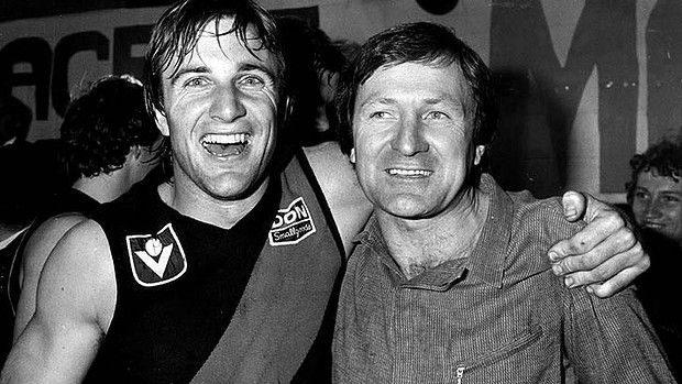 Essendon's Tim Watson and coach Kevin Sheedy after defeating North Melbourne in the 1983 Preliminary Final