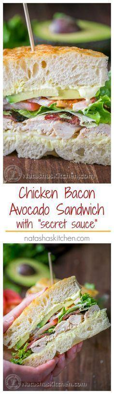 "Chicken Bacon Avocado Sandwich with ""secret sauce"" - A Kneaders Bakery Copycat Recipe | http://NatashasKitchen.com"