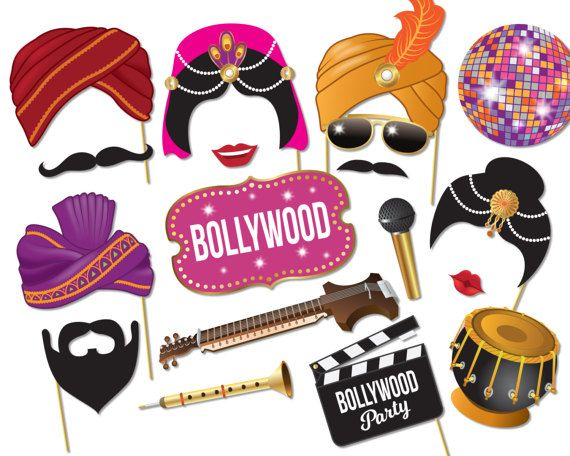 Bollywood Party Photo booth props - Bollywood Wedding,  Indian decorations, Printable pdf - 0214