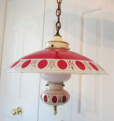 Rare vintage 1940 39 s red porcelier ceiling light fixture for Retro light fixtures kitchen