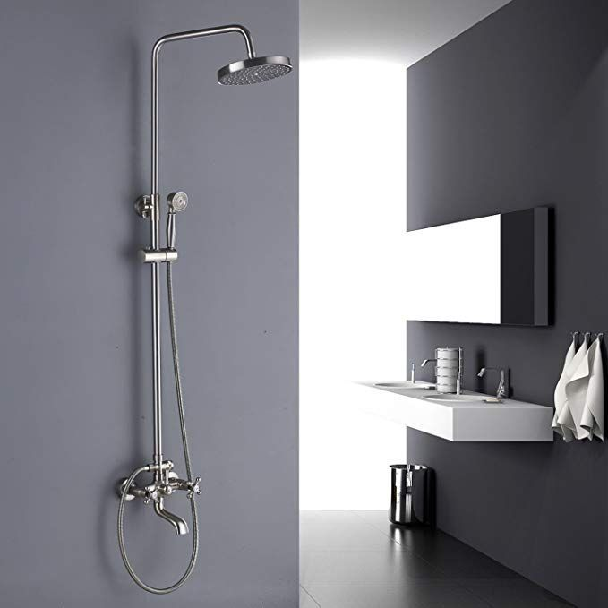 Rozin Wall Mounted Top Rainfall Shower Set Tub Faucet With